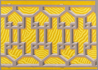 Simulates wooden Chinese fretwork railing with elements repeating horizontally. An illusion of depth is achieved by means of shadows against yellow irregular wave background. Printed in purple on yellow ground.