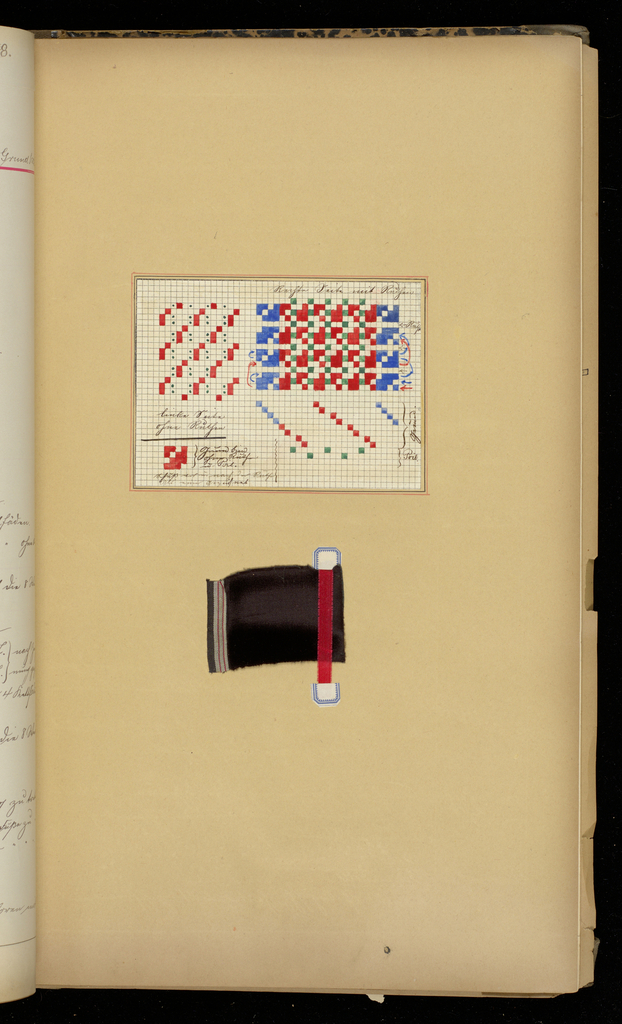 Book with paper label glued to the front containing samples of fabric and analysis necessary for their manufacture.