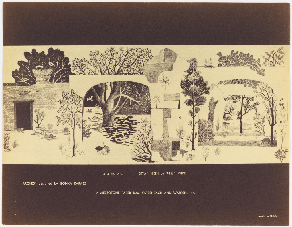 Sample folder containing descriptive text relating to mezzotone scenic wall decorations and miniatures of five Ilonka Karasz designs: Serenade, Sand Gardens, Byzantine Curtains, Arches, and Arabian Nights.