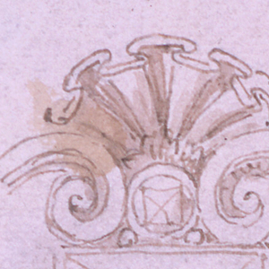 An oblong diamond is framed by an escutcheon. The figure of a winged boy at right supports a broken pediment. Left side incomplete.