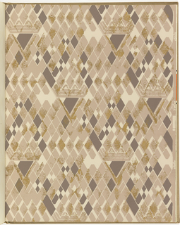 1)  Horizontal rows of rough-hewn stone over-printed with fine vertical lines.  Printed in beige, tan, taupe, brown, and metallic gold.