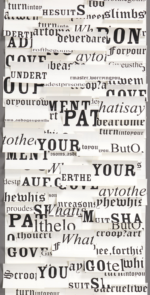 Cut-out white rectangular shapes are printed with text and sewn onto white paper backing.  The text is from Shakespeare and appears in several different fonts in varying scale and boldness, always printed in black.