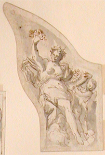 "Vertical drawing  of a side panel of a coach.  ""Autumn"" is shown seated in clouds.  A putto standing at right beside her, wing-like, brought her a bowl with fruits.  She raises her left hand with a bunch.  She is crowned with a wreath."