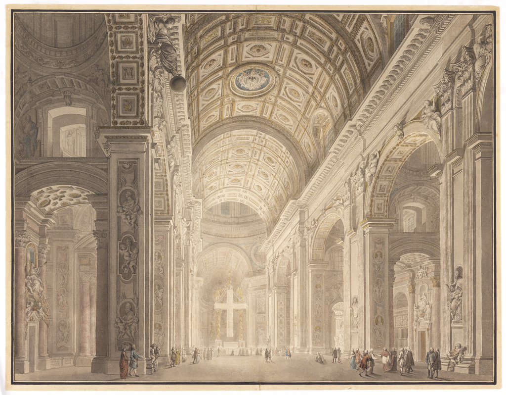 Interior of Basilica of St. Peter's on Holy Thursday.  View is asymmetrical, from a position between the left side aisle and the nave.  Interior is illuminated by a large cross, composed of several hundred lit oil lamps, suspended in front of the Bernini baldichin.  Figures stand under the cross and scattered around the nave.