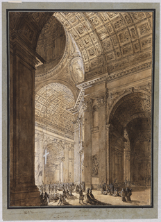 Drawing, Interior of St. Peter's Illuminated