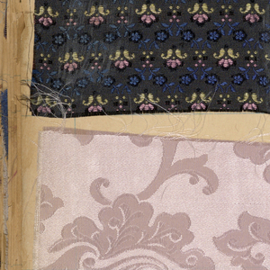Scrapbook, assembled in New York, containing 655 fabric and ribbon swatches. Several 'looks', some very contemporary. 6 pages of J. Claude Freres samples. 1 design on paper. (woven, printed and warp printed, machine embroidery)