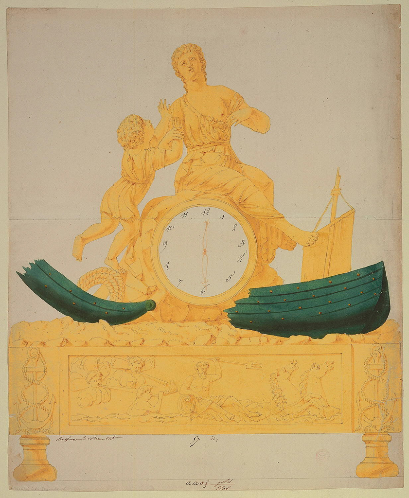 Design for a gilt table clock: a child reaches towards a seated allegorical female figure (Hope?) atop a clock face (its encasing suggesting a rock).  The broken, shipwrecked hull of a sailing vessel flanks the bottom of the clock which, in turn, rests on a base decorated with bas relief of Neptune (holding a trident) riding the sea accompanied by a Triton.  Flanking the frieze are decorations featuring anchors entwined with rope.