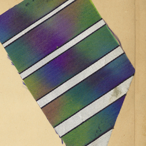 Scrapbook, assembled in New York, containing 1545 swatches of textiles and ribbons. Some examples were purchased in shops in New York and Paris, others appear to come direct from the manufacturer. Several colorways. Swatches are either pasted or pinned into book. (woven, printed and warp printed, machine embroidery)