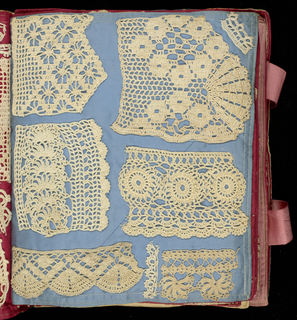 Twenty-one page swatchbook. Cover in silk with a design of poppies in pink and green on a dark blue ground. Pages of tan, blue, green, red and pink cotton. With 333 samples of crochet and darned net work in linen, cotton and wool thread. Two pink silk ribbons to close.