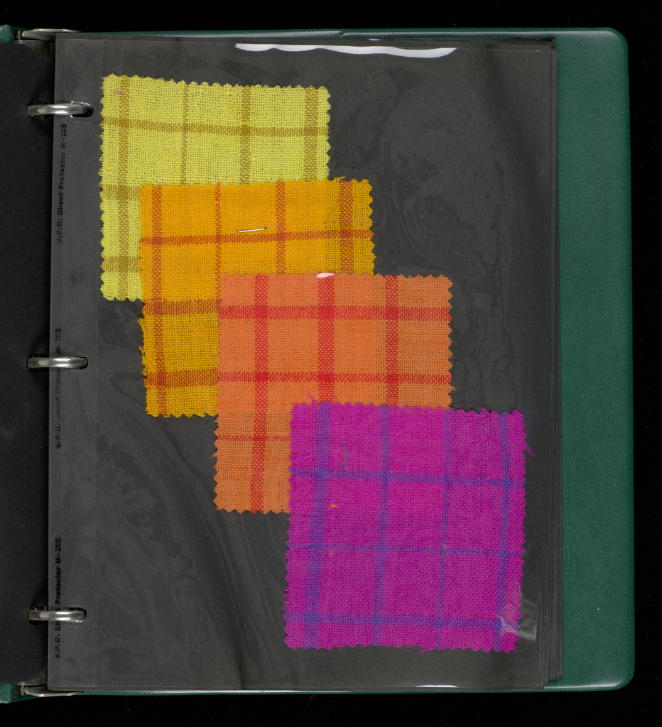 Notebook containing swatches of weaving in light-weight Irish wools; plaids and stripes designed for sportswear.