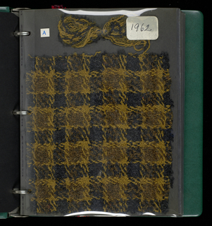 Sample book of handwoven textiles for women's clothing.  Contains components a-r.