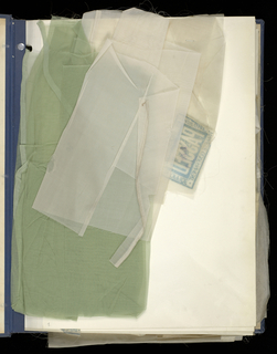 Large portfolio containing samples and notes showing various stages of manufacture of bolting cloth.