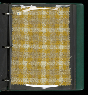 Sample book of handwoven textiles for women's clothing.  Contains components a-p.