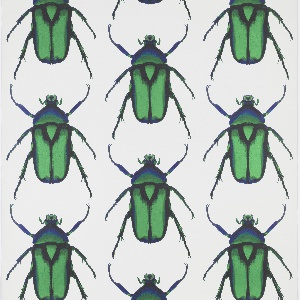 Motif of Rose chafer beetle, greatly magnified, repeating in diagonal rows. Printed in green, blue and black against a white background. The Mylar support creates an irridescence that is inherent to the rose chafer.
