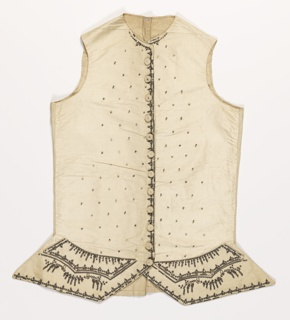 Gentleman's waistcoat of white silk grosgrain embroidered in a highly conventionalized delicate floral design, with silver thread, sequins, and bits of clear glass.