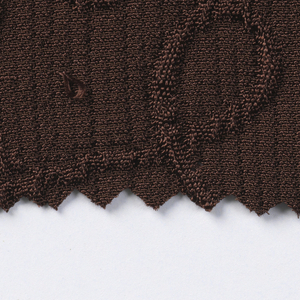 "25  (17?) swatches in solid colors with designs in relief.  Several [-m,-n,-p] have metal threads running through the ground. a-i) woven with vertical ribs and looping calligraphic lines. a- dark brown; b- light brown; c- maroon; d- black; e- navy blue; f- white; g- purple; h- burnt orange; i- green j,k,) woven with vertical ribs and diagonal cross hatching marks; j- brown; k- black m,n,p) woven ""dots"" with gold metallic wefts; m- brown; n- periwinkle blue; p- teal o,q,r) plain weave with warp floats and ""dots""; o- navy blue; q- black; r- white"