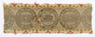 Border of medallions (four in the repeat) meant to look 'antique'.