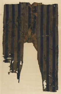 Fragmentary pair of striped trousers. Stripes alternate bands of solid blue and off-white with fine stripes of blue and red.