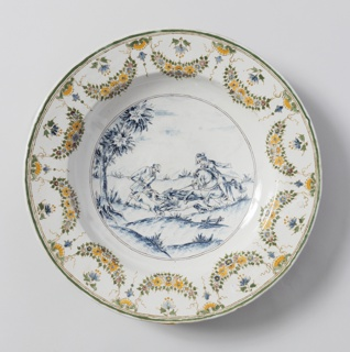 Circular dish with hunting scene in center and floral festoon decoration around edges.