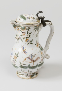 Jug with pewter mount and hinge-thumbpiece; lid broken and repaired; infilled chips throughout.