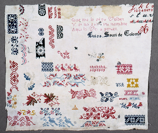 """Portions of border designs, alphabets, verse and signature """"Luisa Sauri de Colome."""" Worked in cross stitch."""