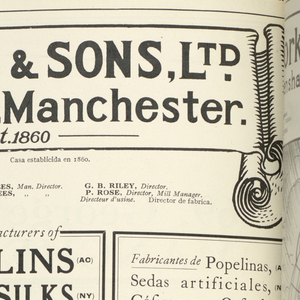 """Large cloth-bound book entitled """"British Standard Exporter."""" Contains samples of textiles – cotton, wool, linen, and synthetics from various English centers and firms. Completely indexed. Illustrated with photographs and advertising material."""
