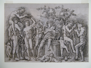 Beneath an apple tree intertwined with grape wines, six men, one satyr, and four putti indulge in wine from a large barrel used prior for crushing grapes. From left to right, the following happens: a distracted putto looks away; a man sitting atop the shoulders of another man passes on a laurel wreath to the third, who takes it in one hand, while holding a Horn of Plenty with the other; a satyr in the background drinks from a jug; a man leaning on the barrel sings in the ear of another swooning over the barrel's edge; two putty are asleep below the barrel, while a third tries to climb inside it; two men, one sitting on the edge of the barrel, sounds the horn while holding a cup, and a second man drinks from a bowl while wetting his toe in the spring of wine flowing out of the barrel, pulling the horn out of the first man's mouth. The whole scene is horizontally arranged in a shallow space, between indoors and outdoors - likely a courtyard.