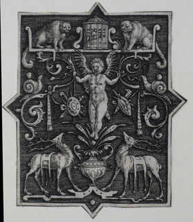 Vertical rectangular design with diamond extensions. Within the center of the design a putti stands on a flower vase and is surrounded by two deer, two monkeys, snakes, trophies, and scrolls.