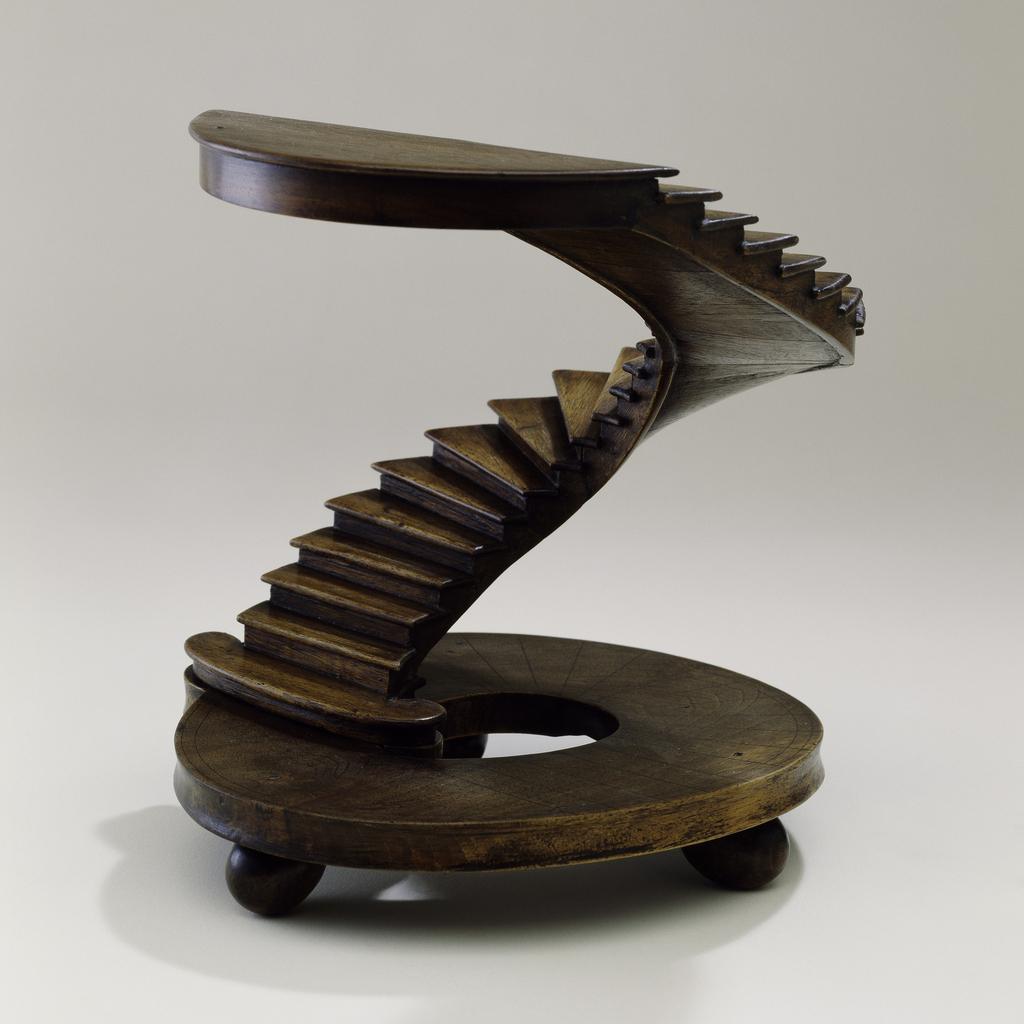 Half-circular staircase model with circular base.