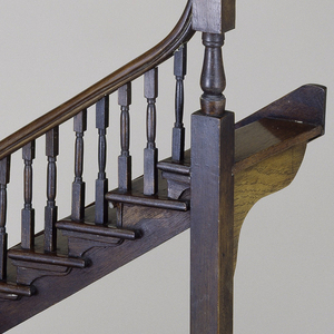 Staircase model turning at right angles in two levels.