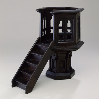 Hexagonal pulpit model in the Gothic Style.