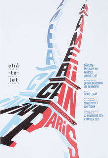 Center, diagonal: red and blue text, An/  A/ m/ e/ ri/ can/ in Paris, form two overlapping shapes of the Eiffel Tower on a white background.