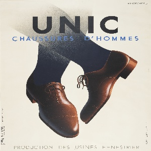 """Black legs wearing brown men's dress shoes cross in the center of this poster, against a cream ground. Bold sans-serif type at top center promotes the shoe brand, UNIC. Smaller blue type below this reads """"CHAUSSURES D' HOMMES."""" Lighter text at bottom center reads """"PRODUCTION DES USINES FENESTRIER."""""""