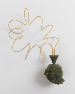 Spiral gold cord with green, rough-surfaced pendant in the form of an irregularly shaped urn.