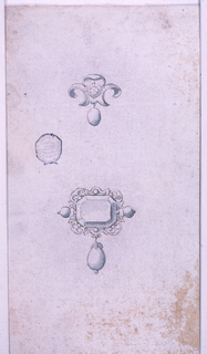 At top, am escutcheon in the shape of fleur-de-lys, with a diamond in the center. A pearl hangs below. Below, an octagonal diamond is framed with a volute motif. Two small pearls on the sides and a larger one hanging below.