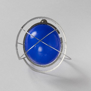 Blue orb with stainless steel rings.