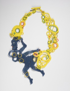 Necklace of tightly stitched tiny blue, yellow, orange and green beads, showing silhouette of a left-facing woman within loop of linked and overlapping irregular circles of various sizes; toggle clasp facing upward.