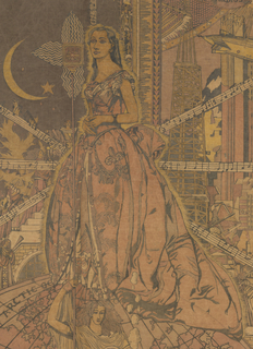 "Singer Jessica Dragonette stands atop a globe, by an NBC microphone held up by the allegorical figure of ""Radio."" Dragonette is dressed in the vintage Worth gown she wore for the ""Lights Golden Jubilee,""  celebrating the fiftieth anniversary of Thomas Edison's invention of the lightbulb. Held in Dearborn, Michigan on October 21, 1929, the event also honored Henry Ford's Greenfield Village (originally the Edison Institute). Dragonette sang ""Little Grey Home in the West,"" one of Edison's favorite songs. A photograph of Jessica Dragonette in this Worth gown appeared in Radio Digest in November 1932 when she was proclaimed ""Queen of the Air."""