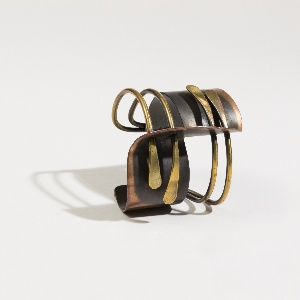 Copper and brass cuff bracelet
