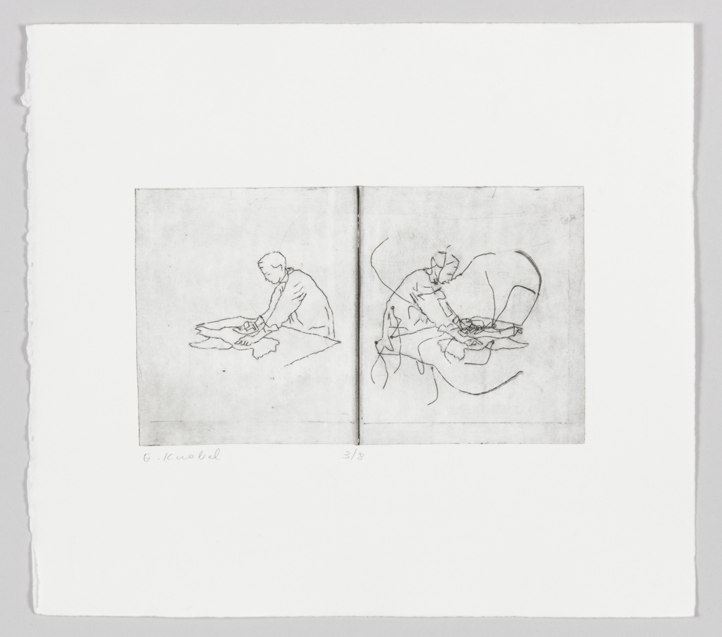 Two part etching divided in half with one figure on each side leaning over a flat surface with arms outstretched, engaged in activity.