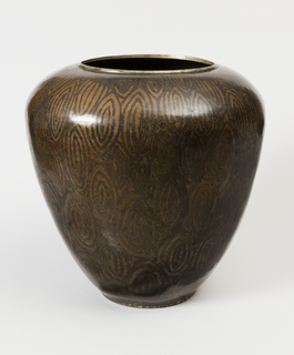 Ovoid vase with concentric lozenge pattern picked out in metallic tone against black ground.