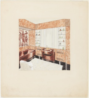 "View of bathroom, facing sink, with brown marble walls and brown fixtures.  Above sink, mirror with mirror and glass shelving units on either side.  Above tub at left, ""exotic"" painted tile [?] decoration in brown and white.  White shag rug on floor with low white upholstered chair at lower left."