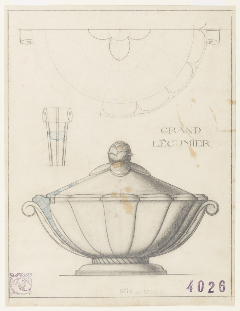 In lower half of sheet, a life-size shaded drawing of a covered vegetable dish whose body is divided into conical sections and with two handles in the form of consoles. Near the left handle, a shaded portion in blue shows a section detail of the cover sitting in the upper edge of bowl. The bowl rests on a two-part base with a braided circle joining a molded circular foot. On the lid are flat leaves in relief with a knob in the form of a stylized pine cone. In the upper half of sheet, a contour study drawn with the aide of a compass, of one-half of lid, scalloped edge of bowl and handles viewed from above. At center left, a detail of one console handle viewed from front. A ruled border in graphite. The white faience vegetable server manufactured from this drawing was part of a dinner service exhibited in the Maison Fontaine pavilion at the 1925 Exposition Internationale des Arts Décoratifs et Industriels Modernes in Paris. (See related drawing 1992-70-3)
