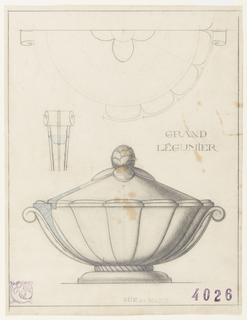 Drawing, Design for a Grand Légumier (Vegetable Dish)