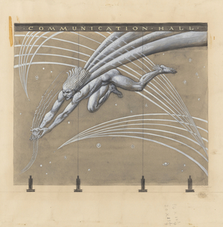 Mercury flying diagonally from upper right to lower left, with his arms extended, gathers air waves portrayed as three series of parallel lines gathered to a point.