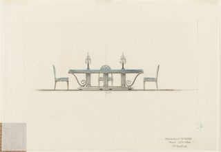 Drawing, Dining Room Table and Chairs, Agnes Miles Carpenter Residence, 950 Fifth Avenue, New York, NY