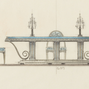 A table, of metal-color and blue top, is supported on scrolls, two of which are seen in profile.  Three chairs are drawn up to the table, and on the table are two candelabra.