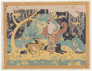 Horizontal rectangle. Woman holding a lyre in a fantastic island landscape surrounded by birds, three deer, a rabbit and a panther. Fish and water in foreground. Ornamental border.