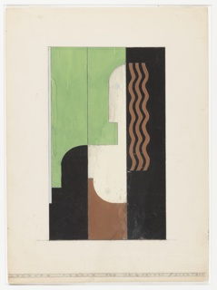 "Design for screen for Gilbert Seldes's apartment located at 10 Henderson Place, New York, NY. Three-panel screen with stylized, cubist portrait of Lysistrata, a character from an ancient Greek comedy of the same name. Right-most panel has black ground on which Lysistrata's brown hair falls in regular waves; center panel features her head in profile with blue eye, and bust with bare breast over a brown garment against a green ground; left-most panels is primarily green with her shoulder rendered in black. Inscribed in graphite across bottom: ""LACQUER SCREEN FOR DR. G. SELDES // SIZE 7' – 6X4"