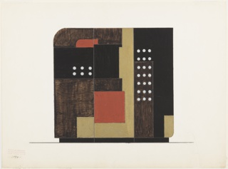 Design for three-paneled screen with rectilinear and textured forms resting on a rectilinear base.   Some shapes imitate wood grain, some in rough gold paint.  Three of forms are ornamented with silver polka dots.  Upper left and lower right shapes have rounded corners.